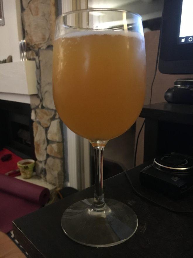 Cider in wine glass